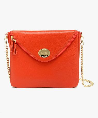 This Tangerine Tango Envelope Leather Crossbody Bag by BODHI is perfect! #zulilyfinds