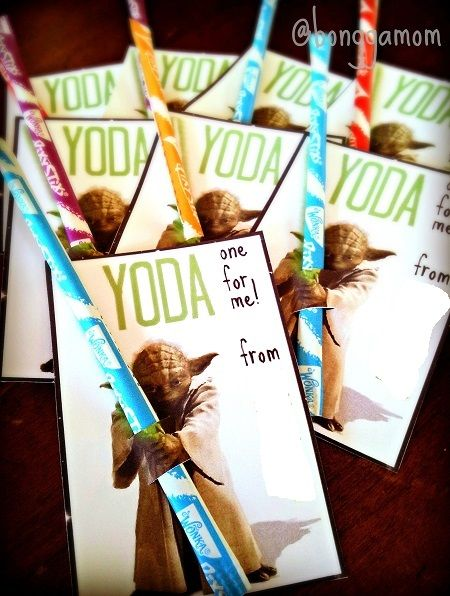 Yoda valentine printable with Pixy Stix -- you can slip in a glow
