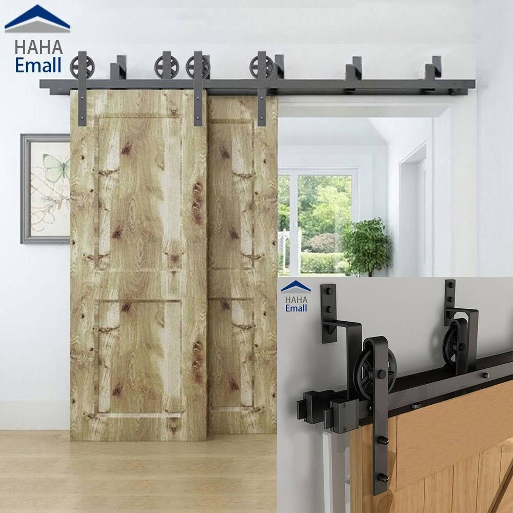5 16 Rustic Bypass Sliding Barn Door Hardware Double Track Big Wheel Hanger Kit Ebay Barn Door Bypass Barn Door Bypass Barn Door Hardware