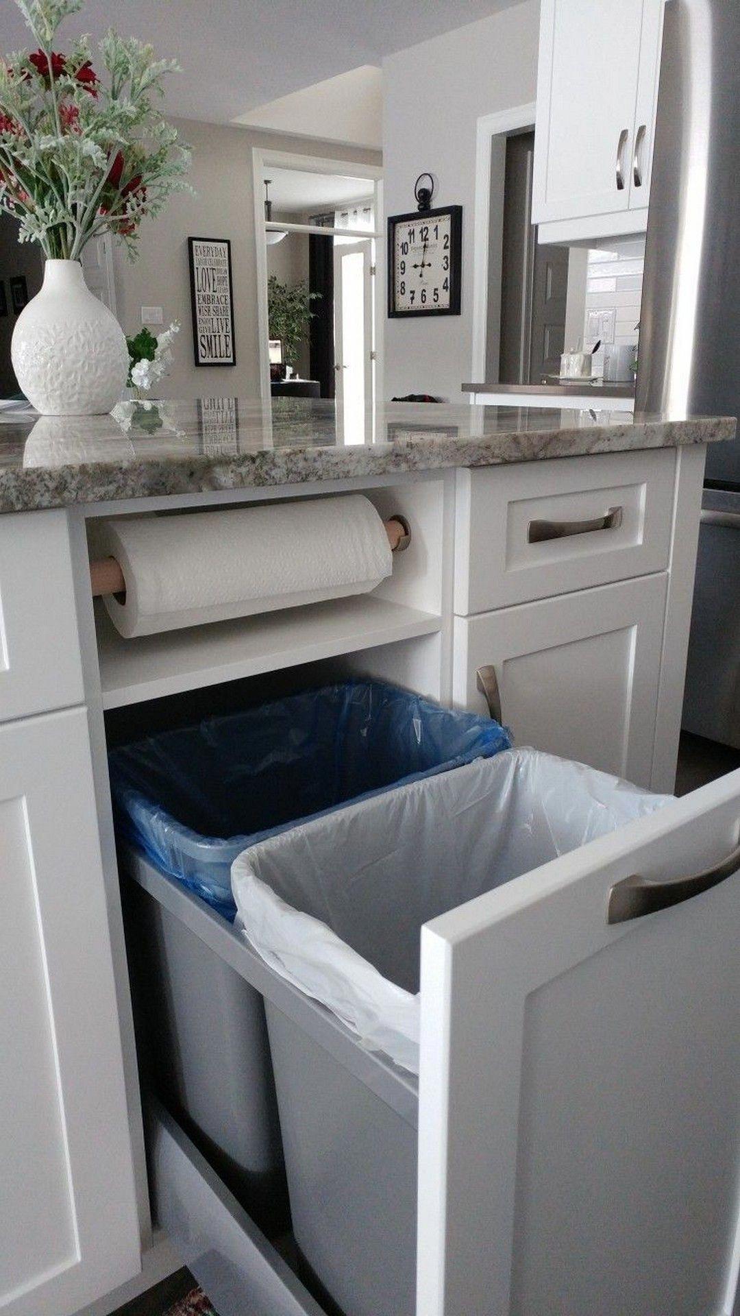 Hidden Paper Towel Holder Double Trash Diyremodeling Kitchen Design Home Decor Kitchen Home