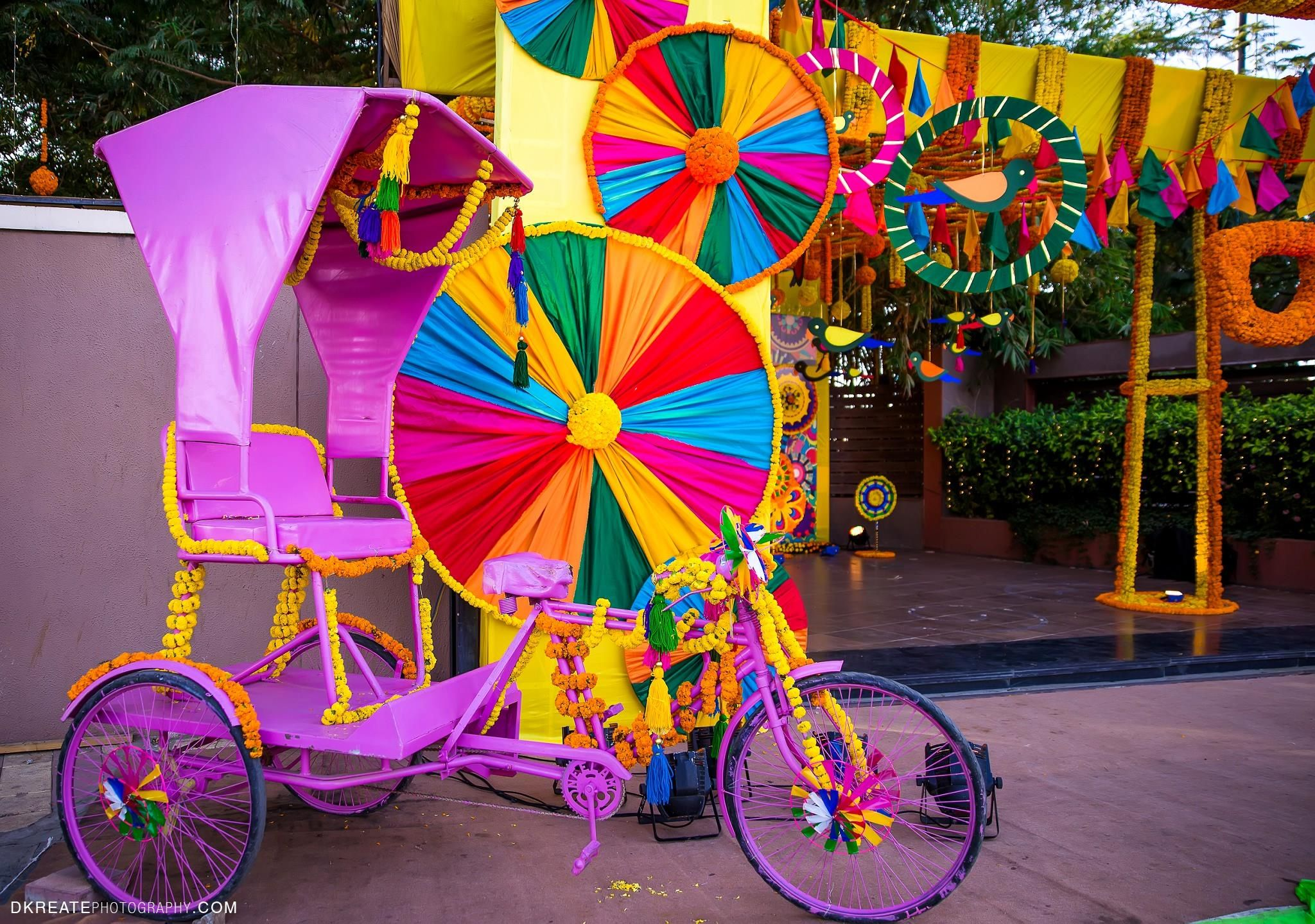 Mehndi Party Trays : Colorful tricycle for a mela themed mehndi party decor ideas