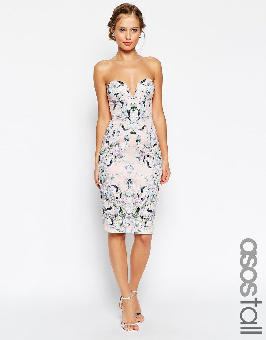 Asos tall wedding guest dresses  Image  of ASOS TALL Floral Curved Plunged Neck Pencil Dress