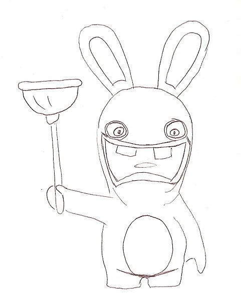 Coloriage lapin cretin et sa ventouse activite - Lapin cretin a imprimer ...