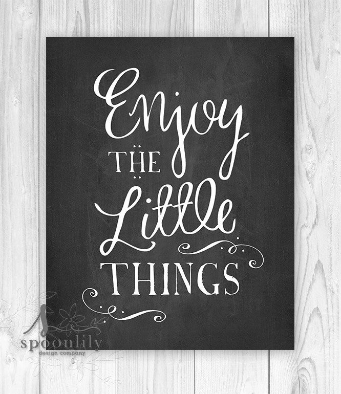 Happiness Is Homemade Home Decor Print Kitchen Quote: Enjoy The Little Things Chalkboard Home Decor By SpoonLily