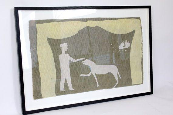 Patter. Man patting dog print on silk framed by RosedeBorman, £260.00