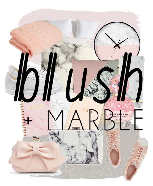 """""""Blush and Marble"""" by ameliekaced on Polyvore featuring interior, interiors, interior design, home, home decor, interior decorating, Marc Jacobs, Balenciaga, adidas Originals and Boohoo"""