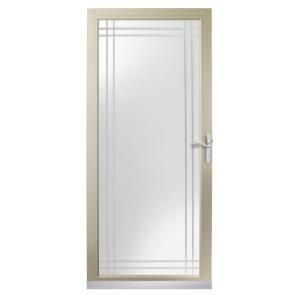 Andersen 3000 Series 36 In. Sandtone Full View Etched Glass Storm Door With  Nickel