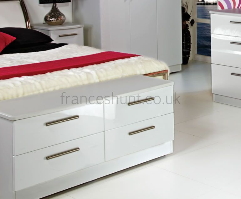 Queen 4 Drawer White High Gloss Bed Box Chest High gloss Drawers