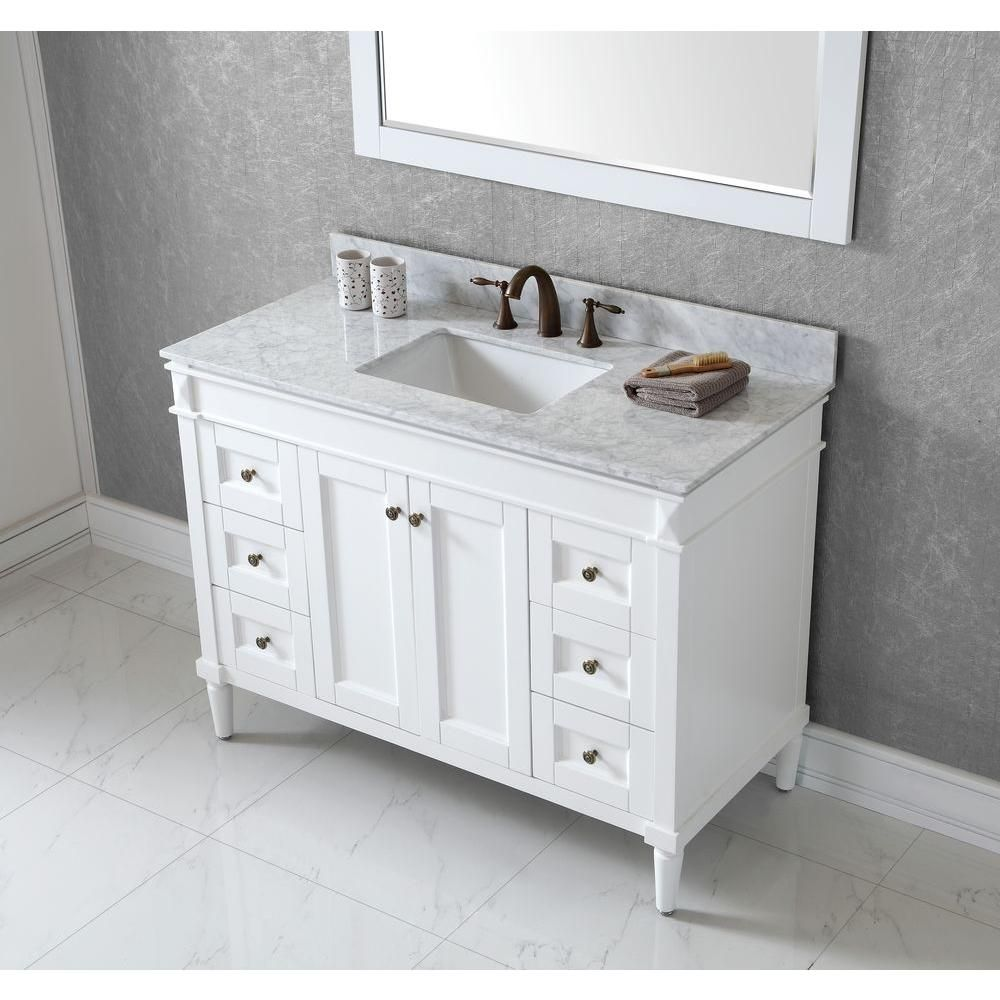 Virtu Usa Tiffany 48 In Vanity In Antique White With Marble