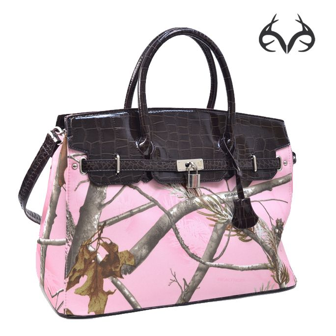 #RealtreePink ® Belted Camo Tote Bag with Croco Trim and Tassel Accent