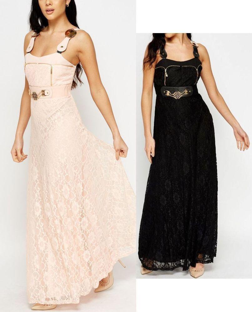 Details zu Neu Maxikleid lang Kleid schwarz rosa Festkleid Hochzeit ...