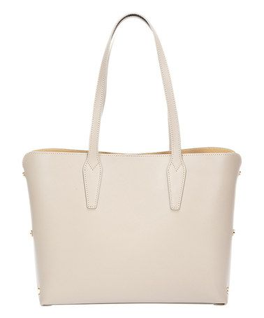 798582385cd067 Taupe Stud-Accent Leather Tote #zulily #zulilyfinds | Nice Handbags ...