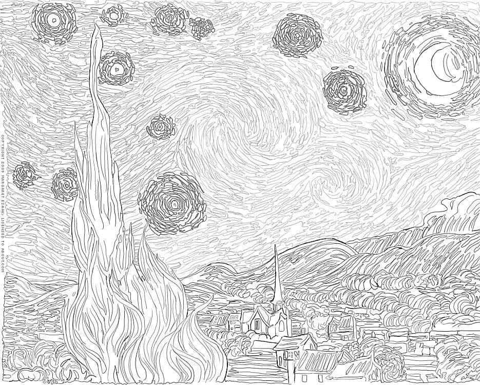 Free Art History Coloring Pages Van Gogh Coloring Free Art Starry Night Van Gogh