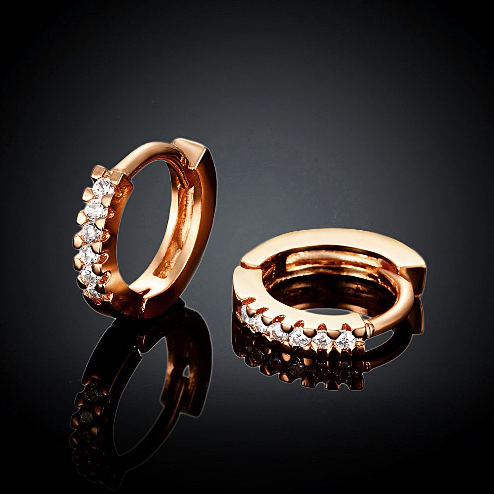 Arlumi 18k Rose Gold plated Clear Crystal Cubic Zircon Circle Round Stud Earrings E044-B