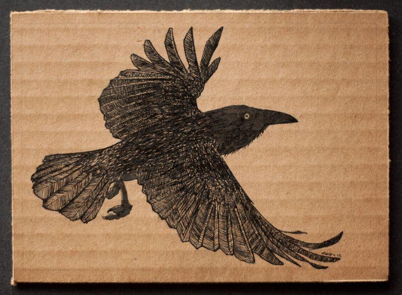 Flying crow | 18x13cm, ink on cardboard