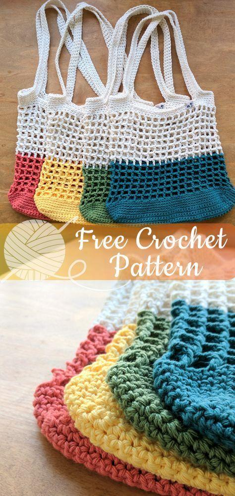 Farbblock-Markttasche  - Alles über Häkeln  #alles #crochet #farbblock #hakeln #markttasche #patterns #bagpatterns