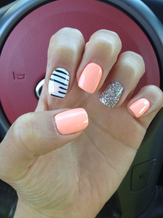 Coral Nails With Heart Cute Gel Nails Coral Nails Gel Polish