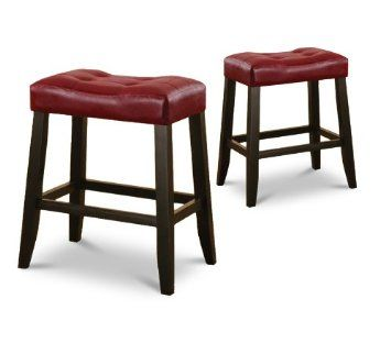 Black Friday 2014 2 Red Cushion Kitchen Counter Dining Saddle Back Finish Bar Stools From The Furniture Cove Cyber Monday