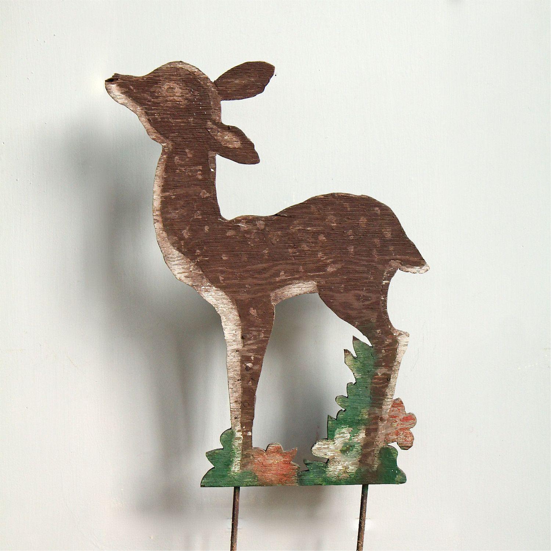 Vintage Wooden Reindeer Lawn Ornament