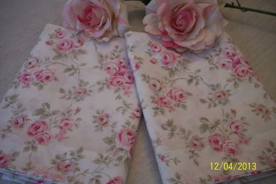 """pair of very rare Rachel Aswell's Simply Shabby Chic """"Blush Beauty"""" pink roses floral Std Pillow Shams pillowcases"""