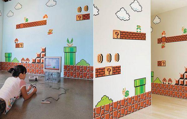 Kids Mario Murals For Bedrooms Super Bros Wall Decals Ideas