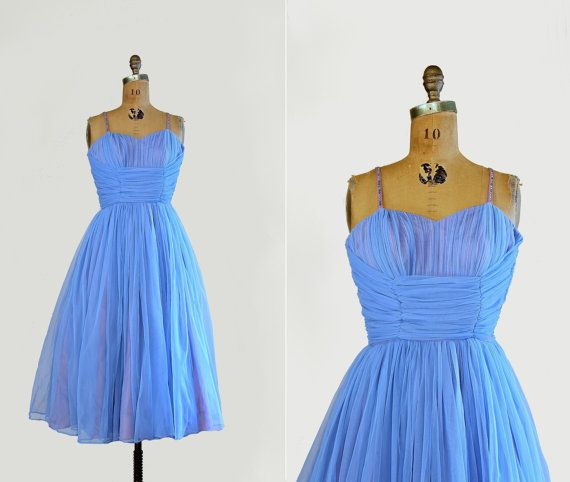 vintage 1950s dress - 50s prom cupcake dress - chiffon, tulle ...