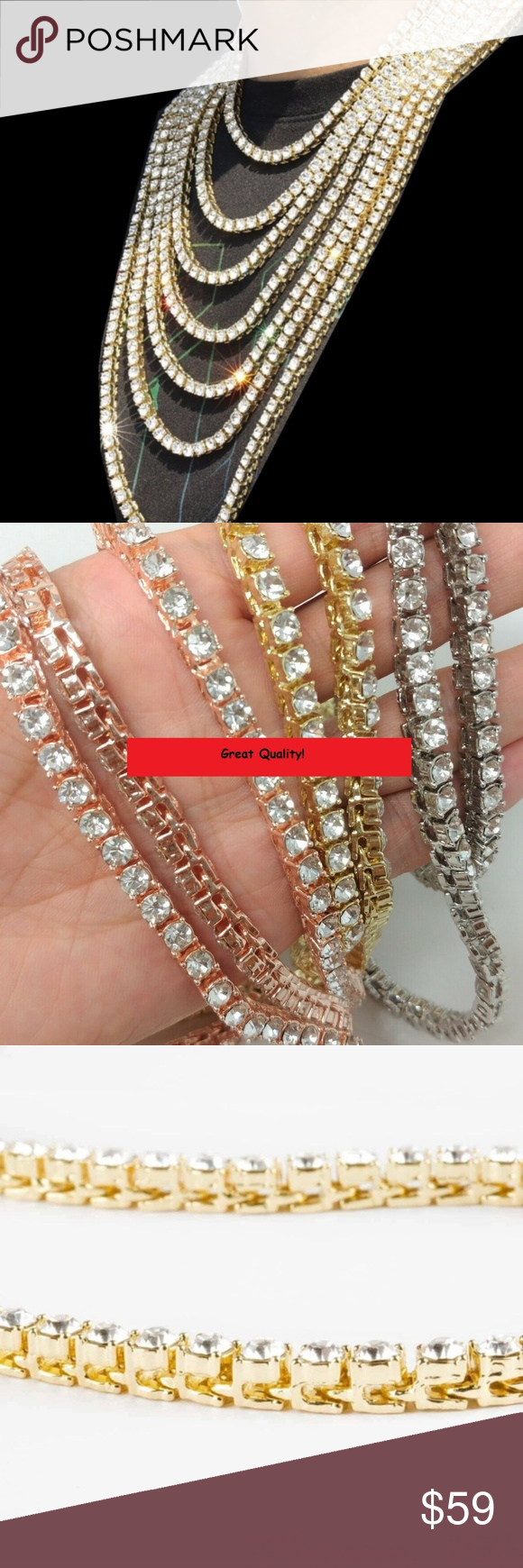 new Gold Plated Simulated Clear CZ Iced Out Tennis Chain HipHop alloy Necklace
