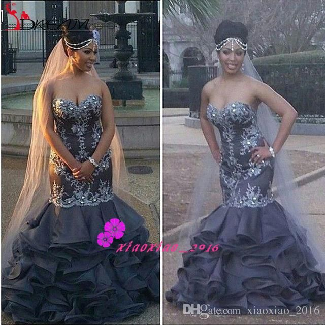 Vintage Dark Gray 2016 Mermaid Wedding Dresses with Sweetheart ...