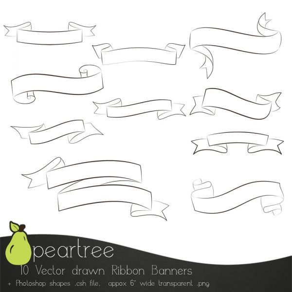 Set Of 10 Calligraphy Ribbon Banners Luvly Ribbon Banner Photoshop Shapes Calligraphy Design