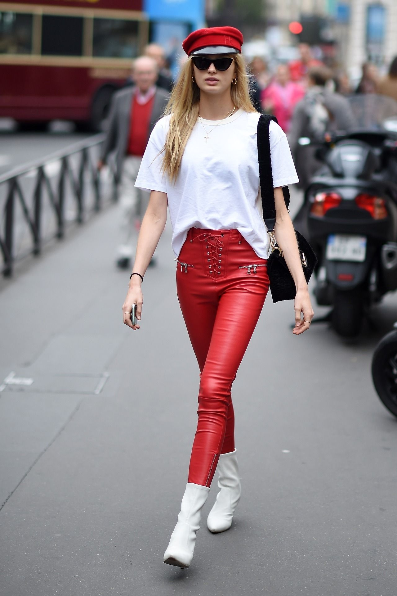 a390303cb88f Romee Strijd get the look for less Red bakers boy hat   57 from  Bloomingdales Oversized white t-shirt   30 from Asos Red high wasted  leather pants   54.95 ...