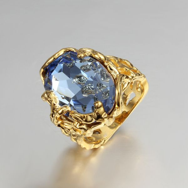 ゴールドメッキ女性中空ギフトリング舗装大きな青い石デザインゴールドメッキ高品質のギフトジュエリー指リングジュエリー