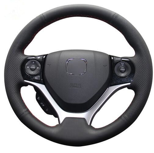 Black Artificial Leather Car Steering Wheel Cover For Honda Civic Civic 9 2012 2015 Steering Wheel Cover Car Steering Wheel Cover Wheel Cover