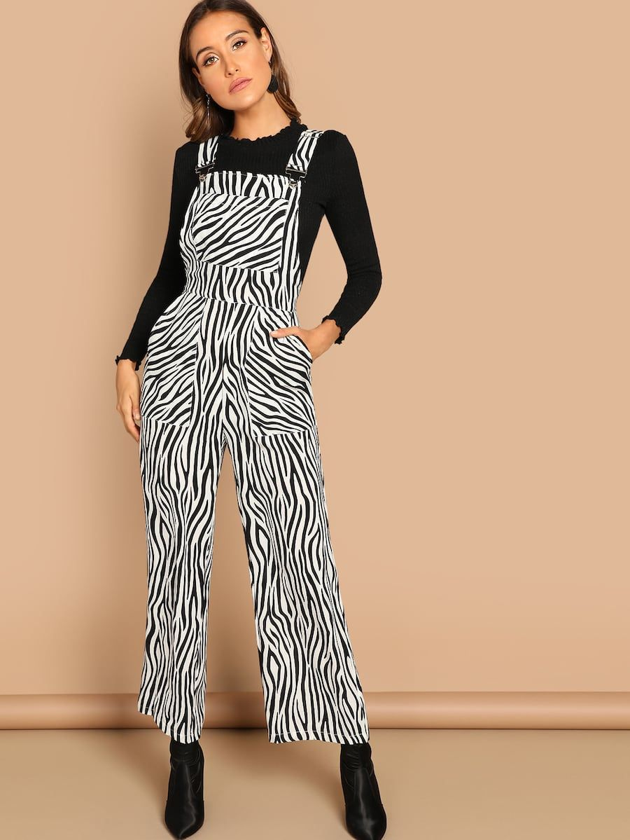 bbde672972f5 Animal Print Pinafore Jumpsuit -SheIn(Sheinside)