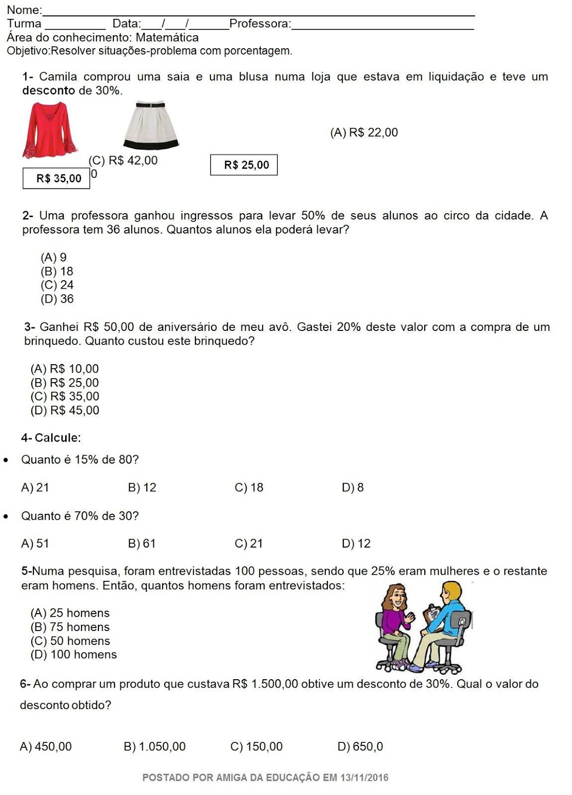 Matematica Porcentagem Area Temperatura Com Imagens