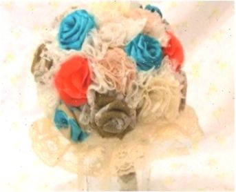 Custom Shabby Chic BurlapLace Turquoise  Coral Wedding Bouquet
