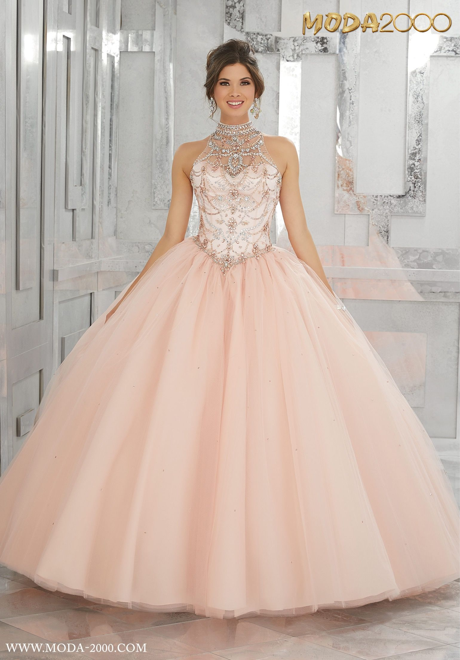 925194228bc ELEGANT BLUSH PINK HALTER QUINCEANERA DRESS! Follow us on instagram for  daily updates  moda 2000