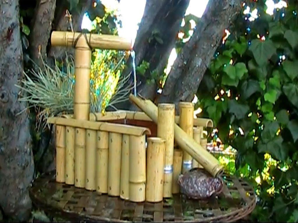 Fuente cascada hecha con ca as eltallerdejazmin - Cana bambu decoracion ...