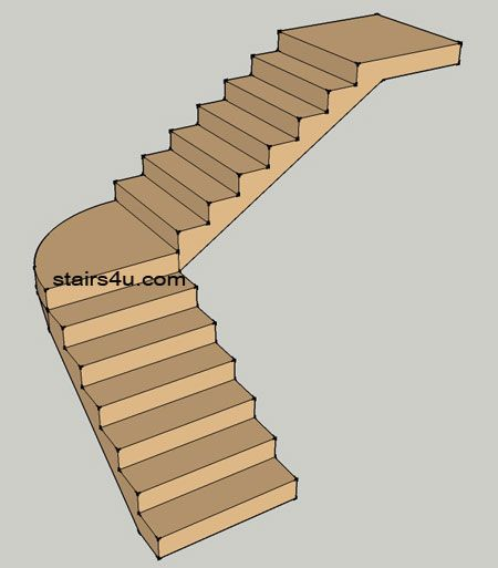 Best L Stairs With Curved Landing Design And Type With Images 400 x 300