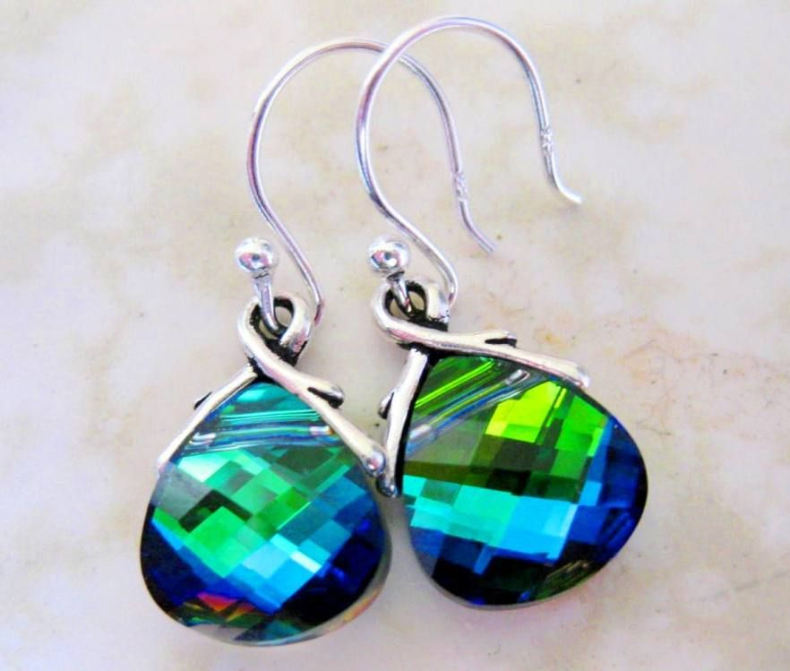 Pea Earrings Blue Green Sterling Silver Aqua Sphinx Bridesmaid Gift