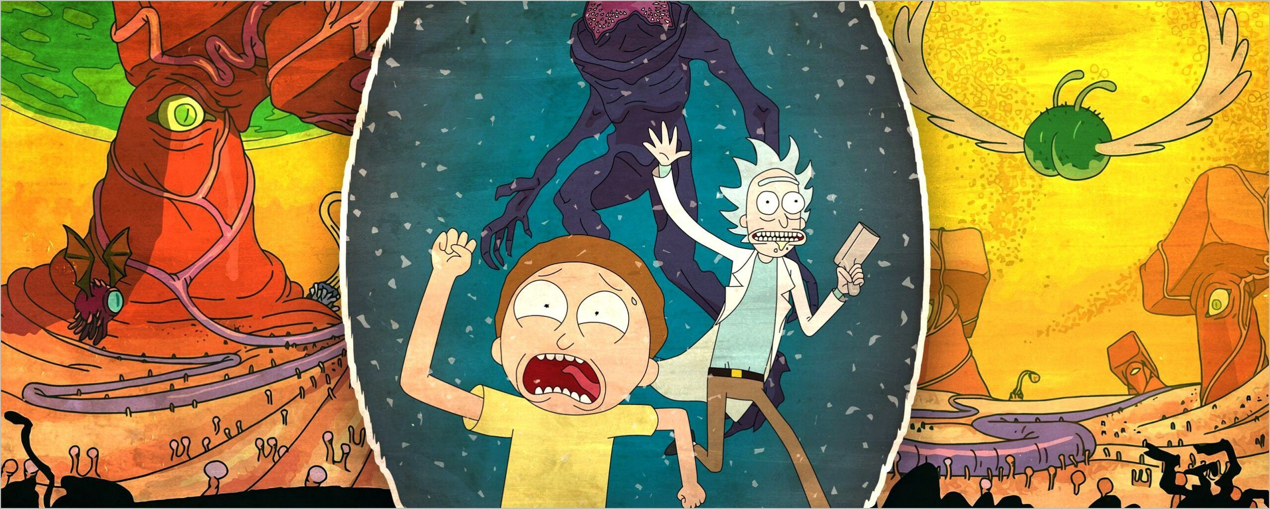 4k Wallpaper Rick And Morty Dual Monitor In 2020 Cartoon Wallpaper Dual Screen Wallpaper Graphic Wallpaper