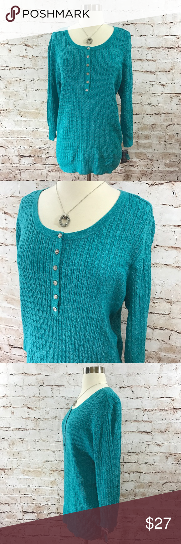 Karen Scott- Teal Knit Sweater NWT | Karen scott, Teal colors and ...