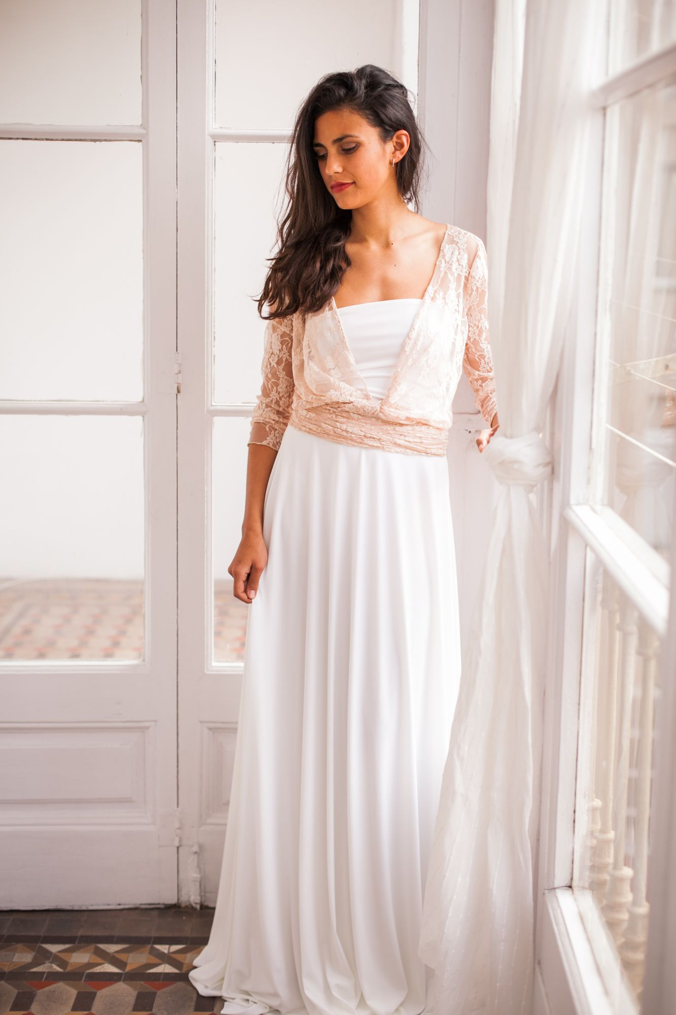 Blush Bohemian long sleeve wedding dress, boho lace wedding dresses ...