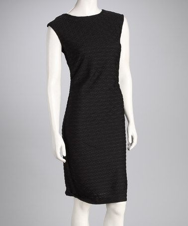 Take a look at this Black Textured Dress by Tribal on #zulily today!