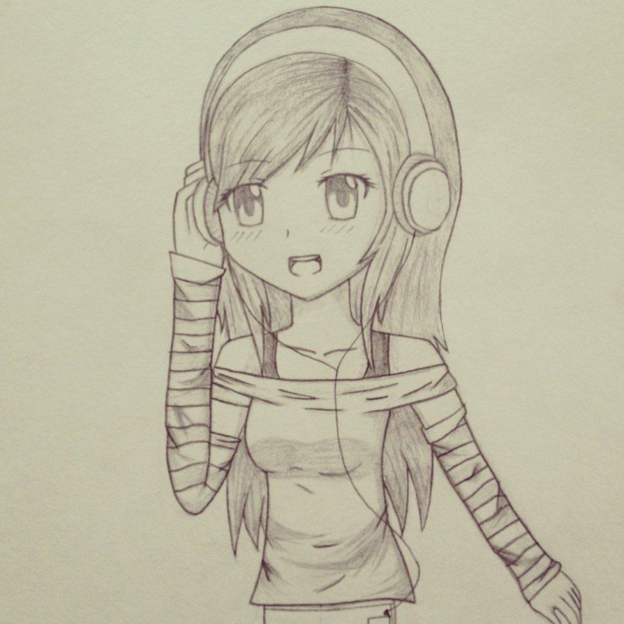 Cute gamer girl drawing