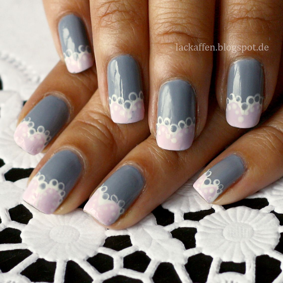 From Lackaffen: Lace Nail Art. Love these!