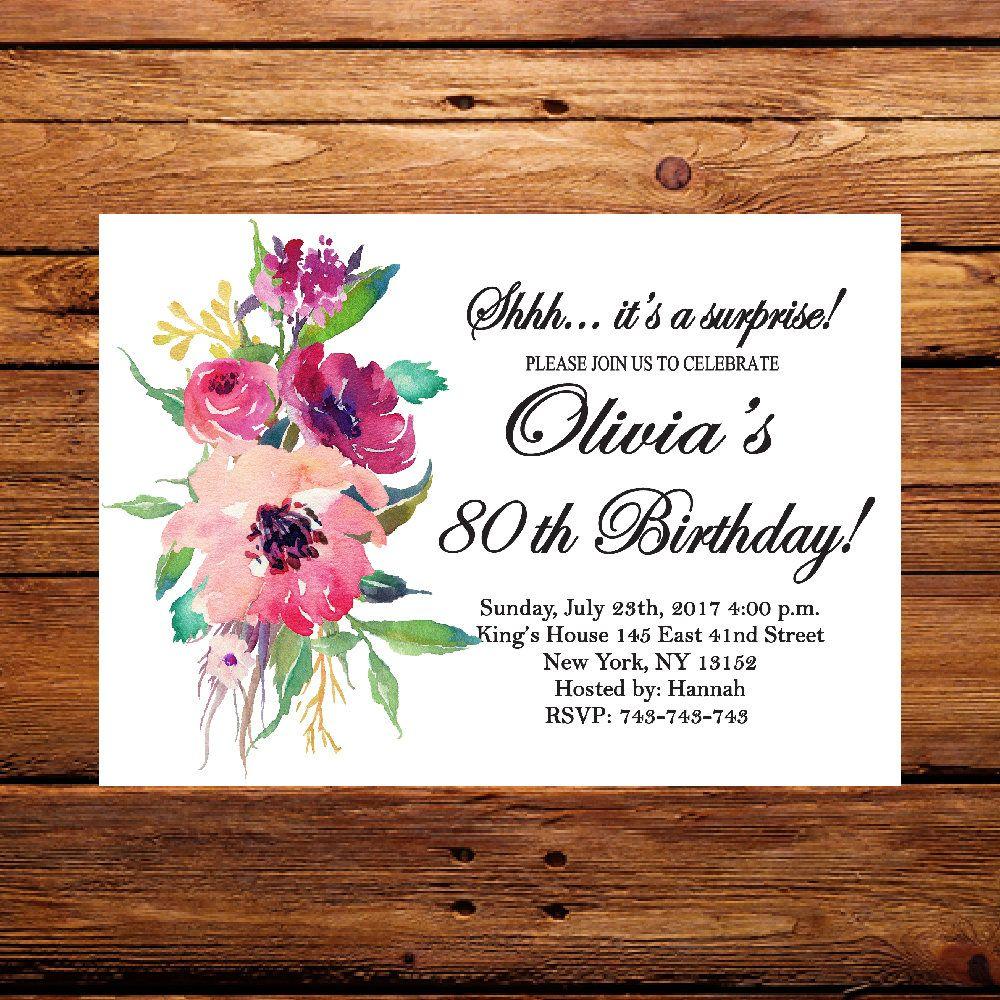 Floral invite,Surprise 80th Birthday Invitation,Women
