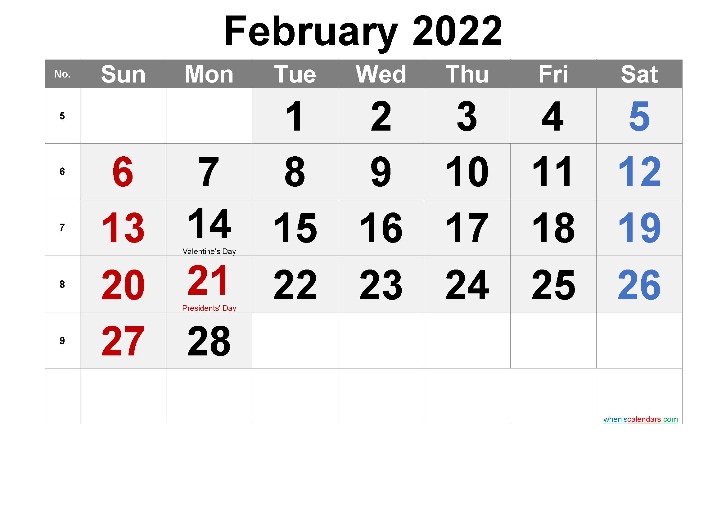 Free Printable Calendar February 2022.Free Printable February 2022 Calendar Pdf And Png Calendar Printables 2021 Calendar Calendar