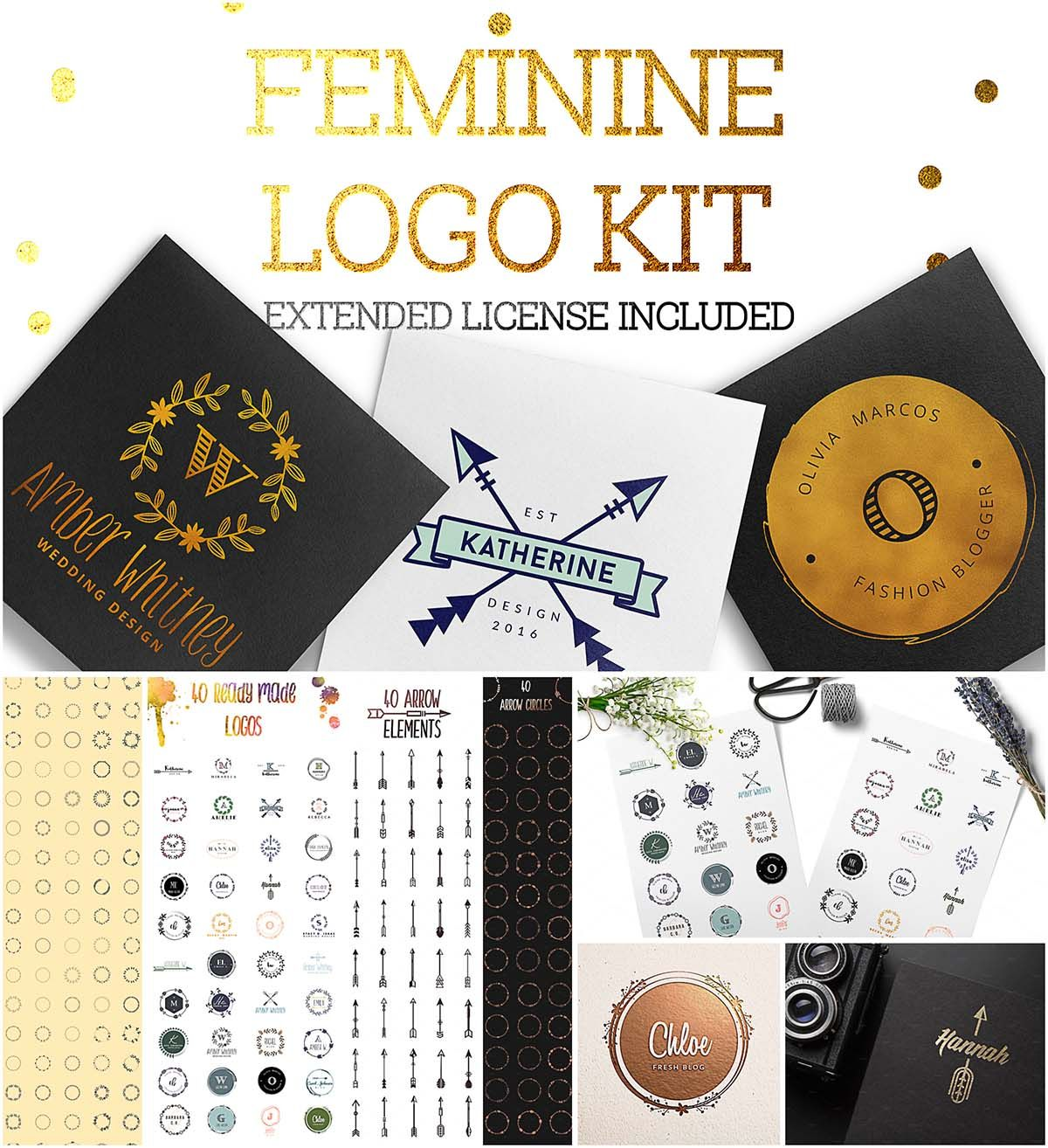 feminine logo creation kit logo creation and mock ups for set of 200 feminine logo elements arrows circles textures etc for creating unique branding identity for file format psd ai eps for
