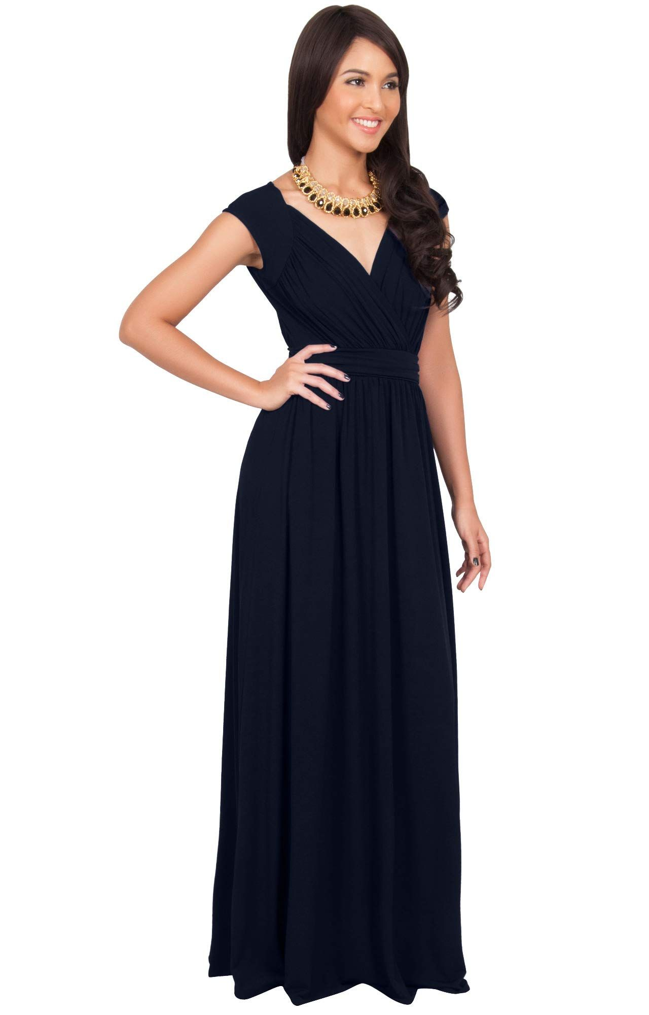 d5247e0d01309 KOH KOH Plus Size Womens Long Cap Short Sleeve Cocktail Evening Sleeveless  Bridesmaid Wedding Party Flowy