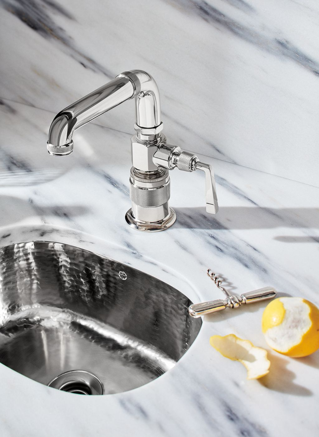 R W Atlas One Hole High Profile Bar Faucet Metal Lever Handle In